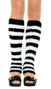 Leg Warmers - Fuzzy Striped Leg Warmers